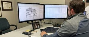 Structural engineer working at computer